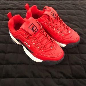 NWOT Red Fila Disruptor Sneakers